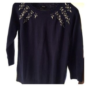 Apt 9 Navy Blue Sweater with jewel accents